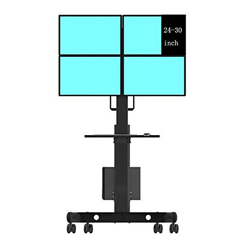 覚醒スクラップブック本当に普遍的な Tv のカート、床 Tv の台紙、4つのスクリーンのステッチ、高さ調節可能、40 360 °回転、23-49 インチ、家具のための平らなパネル Tv の立場および催し物コンソール,B