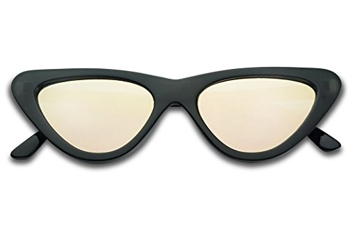 SunglassUP Slim 1990's Streamlined Narrow Flat Lens Cat Eye Mirrored Sunglasses (Black Frame | Rose - 1990 Sunglasses