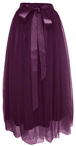 Dancina Women's Ankle Length Tutu Maxi A-line Long Tulle Skirt for Dates Weddings Plus (Size 12-22) Dark Purple]()