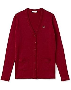 Lacoste Women's Women's Bordeaux V-Neck Cotton Cardigan in Size 40-L Red