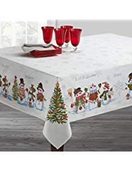 (Benson Mills Believe Snowman Engineered Printed Tablecloth for Winter and Christmas (60