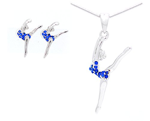 Violet Victoria & Fan Star GYMNAST NECKLACE AND EARRING SET - LEG UP LEAP NECKLACE AND EARRINGS - ROYAL BLUE