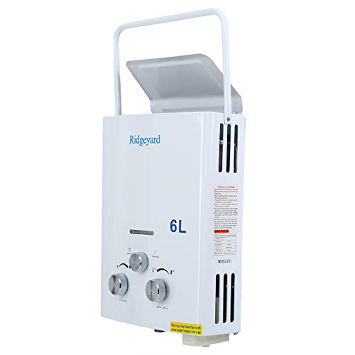 Ridgeyard 6L/ Min (1.6 GPM) LPG Propane Gas Portable Tankless Instant Hot Water Heater + Shower Head Indoor Outdoor Shower Use for Small Homes RV's Sailboats Cabins