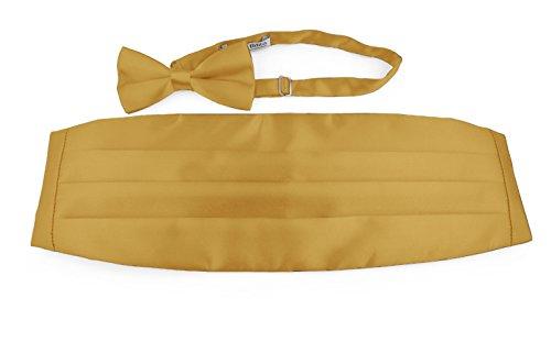 Moda Di Raza- Men's Satin Bowtie and Cummerbund Set Combo Tuxedo - Gold (Gold Cummerbund)