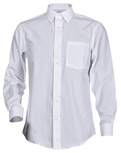 George Men's Classic Fit Long Sleeve Poplin Solid Button-Up Dress Shirts (X-Large Slim Long, White)