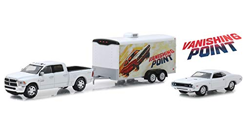 2018 Dodge Ram 2500 Pickup Truck & 1970 Dodge Challenger R/T & Enclosed Car Hauler Vanishing Point (1971) Movie 1/64 Diecast Models by Greenlight 31070 B