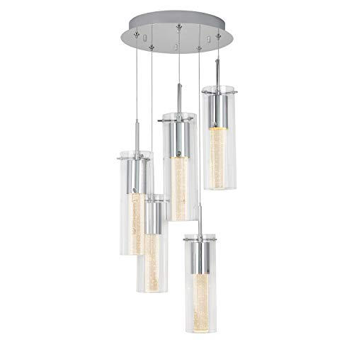 (Artika OME64B-HD2 Essence Spiral 5-Pendants Indoor Light Fixture with Integrated Led with Premium Glass and Dimmable, Chrome Finish )