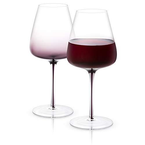 JoyJolt Black Swan Red Wine Glasses, Premium Lead Free Crystal Glassware,26.8 Oz Capacity, Set Of 2.