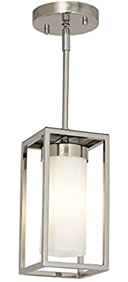 Polished Nickel Box Light Pendant LED Cage Lighting Hanging Fixture