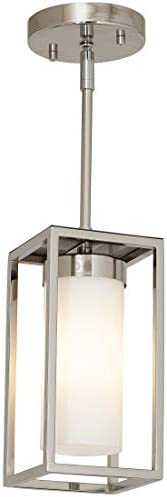 Hamilton Hills Polished Nickel Box Light Pendant LED Cage Lighting Hanging Fixture