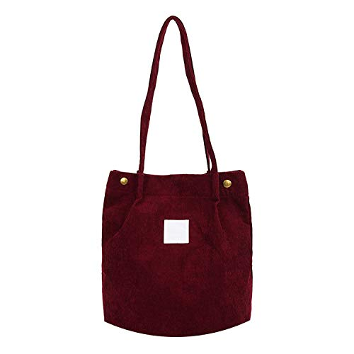 Solid Corduroy Shoulder Bags Environmental Shopping Bag Tote Package Crossbody Bags Purses Casual Handbag For Women,C Wine Red,28 X 35 X 12 Cm