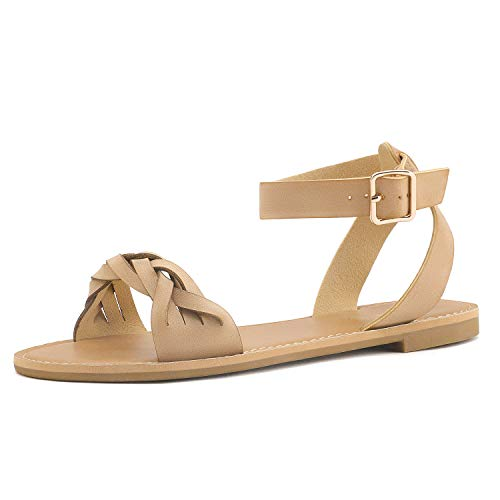 DREAM PAIRS Nude Pu Summer Sandals for Women Casual Open Toes Ankle Straps Buckle Fashion Flat Sandals, Soft Faux Leather Braided One Band Comfortable Slingback Dress Cute Flat Shoes Size 5.5 M US