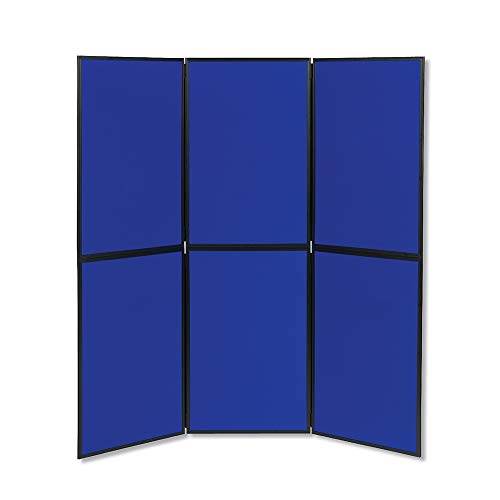 Quartet Fabric Bulletin Board Display Panel System, 6' x 6', Double-sided, Blue/Gray Surface, Black Frame, Exhibition, Show-It! (SB93516Q) - 6 System Display Panel