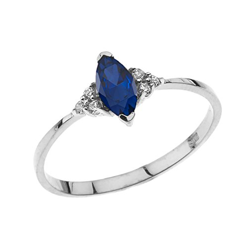 Dazzling 14k White Gold Genuine Marquise Sapphire with White Topaz Proposal/Promise Ring (Size ()