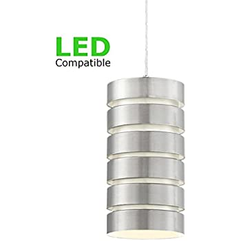 "Revel Aura 9.5"" Modern Pendant Light + Stacked Shade, 1 Light Industrial Hanging Lamp, Adjustable Wire, Brushed Nickel Finish"