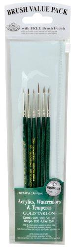 Detail 6 Pieces - Royal & Langnickel Royal Zip N' Close Gold Taklon Detail 6-Piece Brush Set