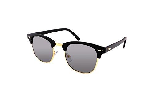 FEISEDY Vintage Half Frame Sunglasses For Men Women Classic Brand Matt Black Glasses - Sunglasses Half Frame