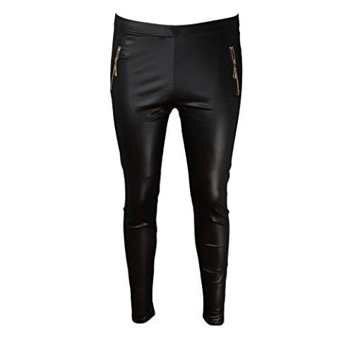 Leggings para Mujeres apariencia de cuero con cremallera color negro ...