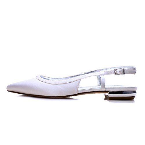 L@YC Damen Hochzeitsschuhe Satin Silk Sandalen Geschlossene Zehe Gemacht Gericht Schuhgröße Elfenbein/5047-19 Purple