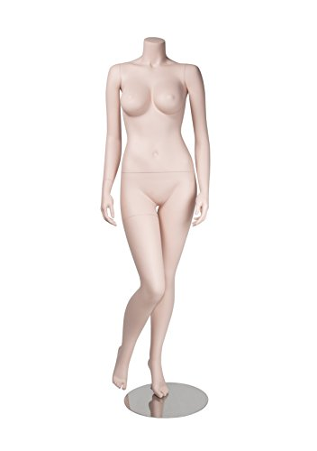Newtech Display MAF-BRZ1-103/SK Headless Brazilian Body (Voluptuous Chests and Hips) Mannequin, Right Leg Bent Inwards, 67'' Height, 33'' Chest, 23'' Waist, 35'' Hips, 35'' Inseam, Skin Tone by Newtech Display