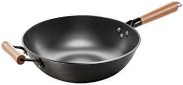 Yougou01 パン、12インチ鋳鉄製中華鍋、コーティングなし平底ノンスティック中華鍋、気質黒(カバーなし),絶妙なデザイン (Size : 36cm)