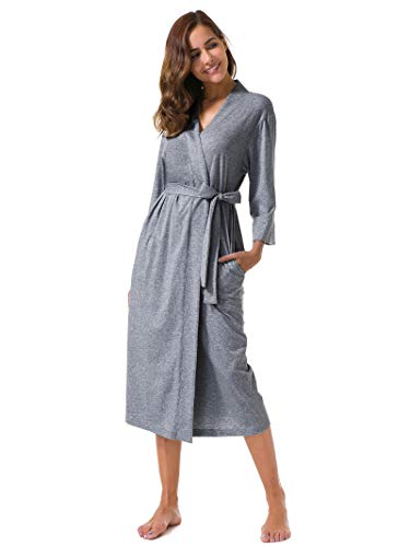 (SIORO Women's Kimono Robes Cotton Lightweight Robe Long Knit Bathrobe Soft Nightgowns Sleepwear V-Neck Ladies Nightwear Steel Gray Plus Size)