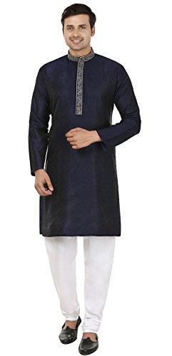 Jacquard Silk Embroidered Mens Kurta Pajama India Clothing (Blue, XL) ()