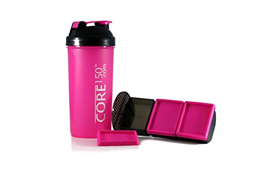 Core150® Attitude Shaker - Red - 35oz Protein Shaker Bottle. Contains easy stack removable storage with 3 compartments - Supplement Mixer