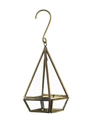 Small Glass Prism Hanging Candle Lantern in Gold - 6.25