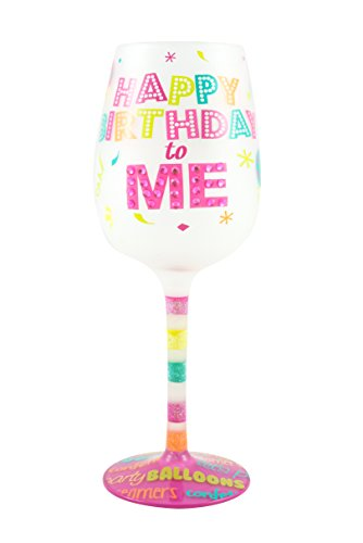 "Top Shelf ""Happy Birthday to Me"" Decorative Frosted Wine Glass ; Unique Hand Painted Red or White Wine Glass for Friends and Family ; Novelty Gift Ideas for Her ; Multicolor"