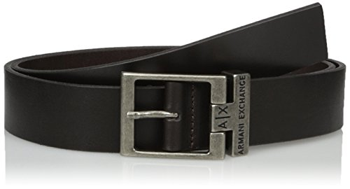 Armani Exchange Men's Logo Buckle Leather Belt, Dark Chocolate, (Buckle Dark Chocolate)