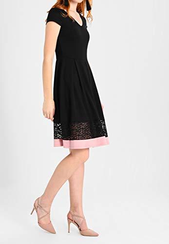 Cuello de de Cóctel con Encaje de Bajo Negro Mangas Field en Jersey V A Cortas de con y en Mujer Línea Elegante Vestido Anna Vestido Vestido qxOYvW