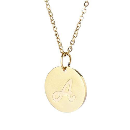 TTVOVO Initial Letter Necklace Stainless Steel 18K Gold Filled Engraved Personalized Disc 26 Alphabet Monogram Name Charms Pendant Necklace for Women - Letter A