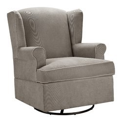 Swivel Glider Cushions Are Made of 100% Polyester Fabric In Dark Taupe Fabric And The Frame is Made of Manufactured Wood Be Cozy and Comfy - 20' Wood Shelf