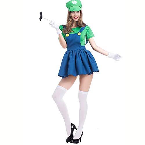 Yichuhaoxi Women Mario Skirt Cosplay Costume Halloween Adult Costume -