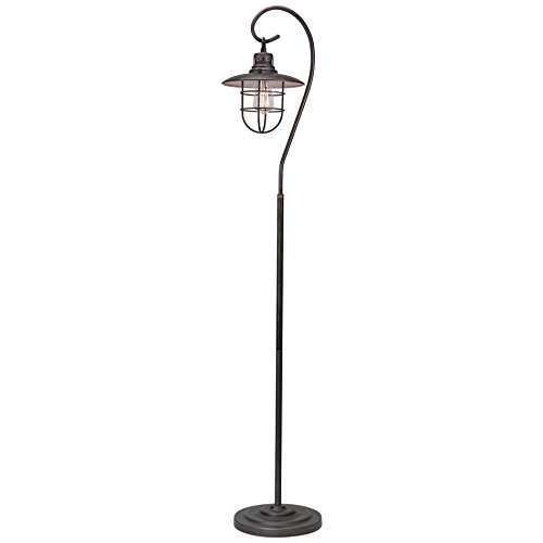 Kira Home Lantern 58'' Industrial Floor Lamp + Hanging Shade Design + Cage, Brushed Pewter Finish by Kira Home