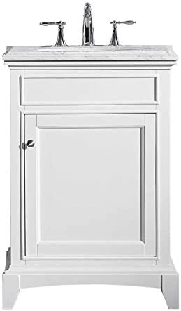 Eviva EVVN709-24WH Elite Stamford White Solid Wood Bathroom Vanity Set With Double Og White Carrera Marble Top White Undermount Porcelain Sink, 24 H