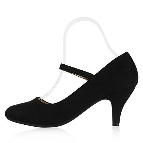 Spitze Damen Pumps High Heels Stilettos Klassische Abendschuhe Veloursleder-Optik Schuhe Schnallen Kroko Prints Flandell Schwarz Velours Schnalle