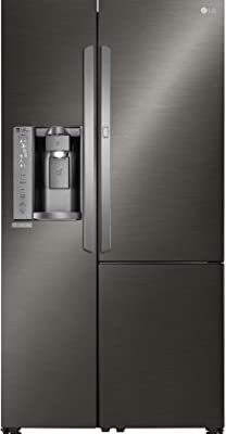 """LSXS26386D 36"""" Freestanding Side by Side Refrigerator with 26.1 cu. ft. Capacity, in Black Stainless Steel"""