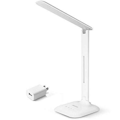 Desk Lamp, Zeavou LED Table Lamp (Energy Saving, Eye-care, Touch Sensitive, 5 Dimming Levels, 3 Color modes) - White