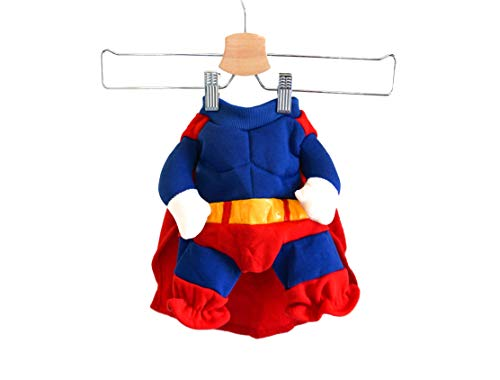 LAVENKA Cute Superman Costume for Puppy Dog and Pet Costume - Full Body Superman Costume with Cape for Small Dog (14)