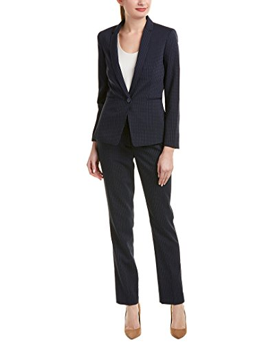 Tahari by Arthur S. Levine Women's Long Sleeve Jacket Pant Suit With Ivory Pinstripe, Navy/Ivory, 10 - Ladies Pant Suit