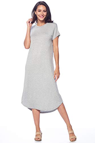 82 Days Womens Short Sleeve Midi Dress Causal Summer Sundress Plus Size Made in USA Hgray S
