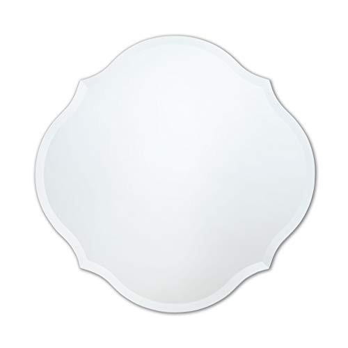 Frameless Mirror   Bathroom, Bedroom, Accent Mirror   Round with Scalloped - Bathroom The Looking At Mirrors