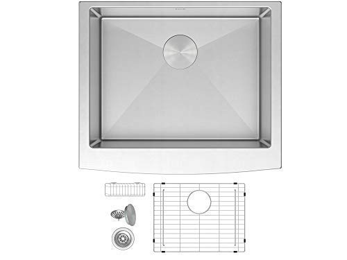 ZUHNE Prato 24 Inch Single Bowl Farm House 16G Stainless Steel Kitchen Sink, Scratch Protector Grid, Caddy and Strainer – Curved Tall Apron