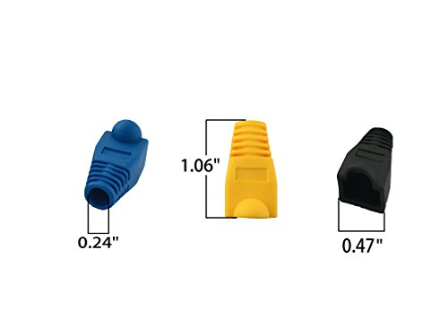 Accessbuy Soft Plastic CAT5E CAT6 Ethernet RJ45 Cable Connector Boots Plug Cover Strain Relief Boots Multicolor 100 Pcs 5 The RJ45 boots cover protects RJ45 connectors from dust and Oxidation extending the RJ plug's life time. Size: 2.7*1.5*1.6cm Multiple color for your options-white, gray, red, black, purple, blue, green, yellow, orange, dark gray.