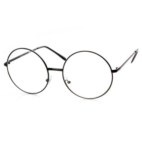 zeroUV - Large Oversized Metal Frame Clear Lens Round Circle Eye Glasses (Black)