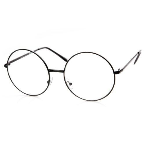 Large Oversized Metal Frame Clear Lens Round Circle Eye Glasses (Black)]()