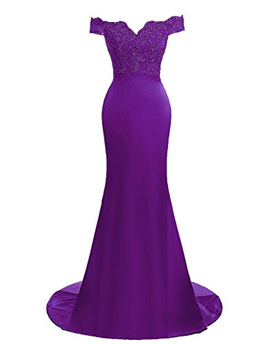 Gowns Shoulder Bead Mermaid AIJIAYI Off Prom Evening Dresses Women's Sparkly WJ1010 Lace Formal Long xwCzR6
