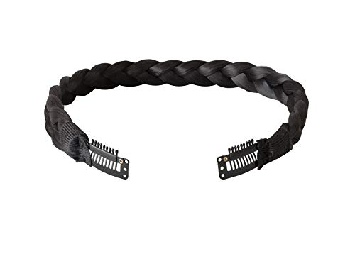 (Coolcos 1B Natural Black Double Braided Headband with Snap Clips - No Head Size)